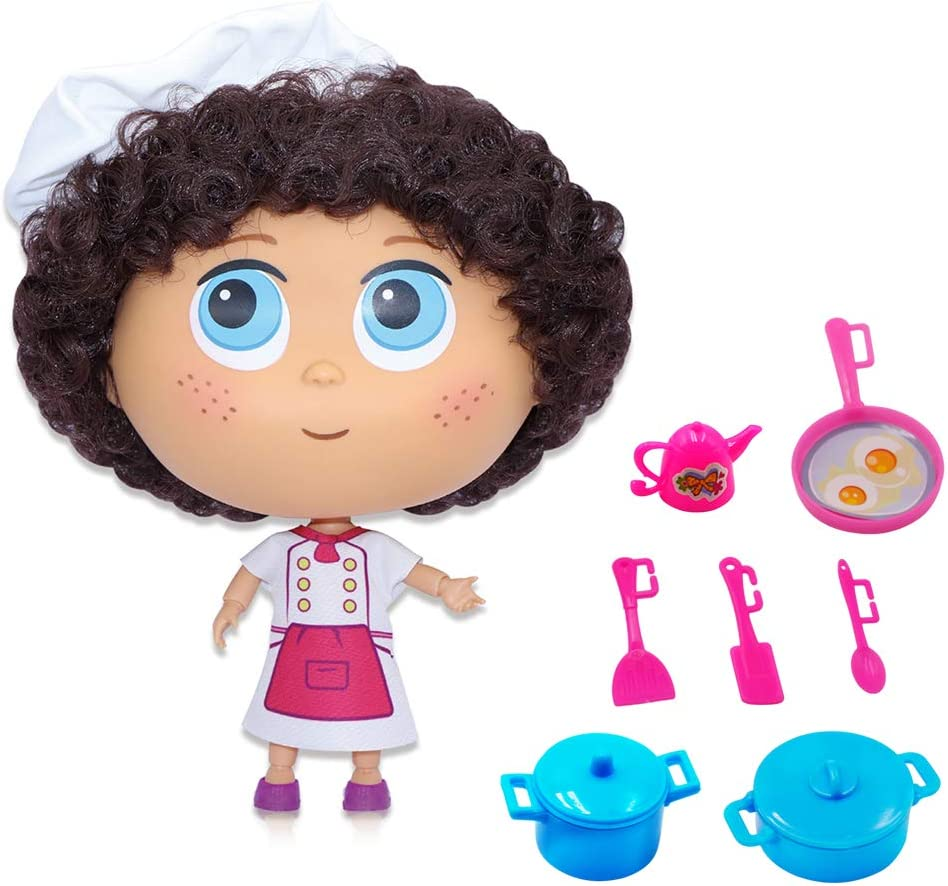 Kaibibi Dolls, Pretend Chef Doll Toy 8-Piece Baby Role-Playing Game Set Including 7.5-Inch Doll, Kettle, Steamer, Frying Pan and Spatula Suitable for Children Over 3 Years Old to Play
