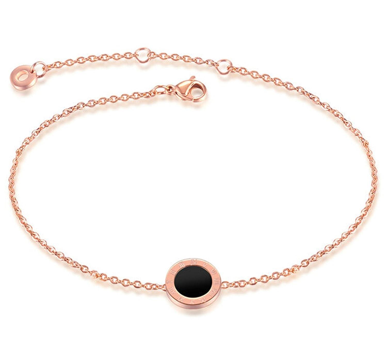 Epinki Women Stainless Steel Round Roman Numerals Pendant Beach Foot Anklet Bracelet Rose Gold 21 + 5 CM