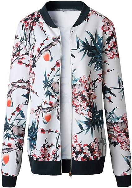 Damen Retro Blumen Rei/ßverschluss Up Bomber Jacke Casual Mantel Outwear Warme Sportjacke VECDY Damen Jacken,R/äumungsverkauf