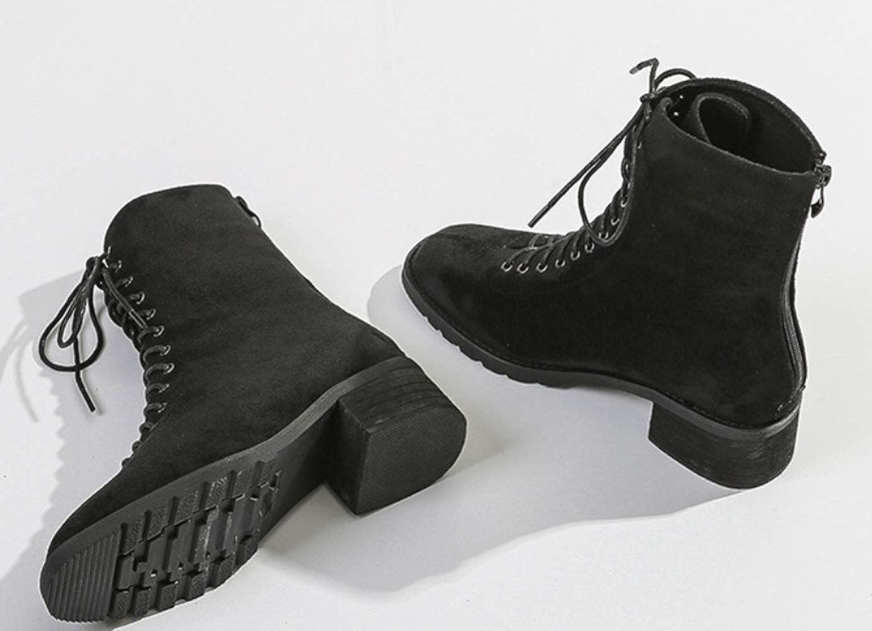 Shiney Frauen Martin Stiefel Weibliche Britische Britische Britische Wind Einfarbig Matte Schuhe Dicke Unterseite 2018 Herbst Winter ac39c4