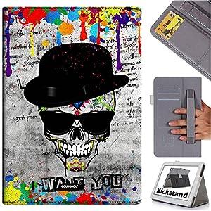 Cowcool(R) Samsung Galaxy Tab4 T530 Folio Non Slip Elastic Hand Strap Dermis Cowhide Leather Card Slot Kickstand Closure Holster Case, Hat Skull Sunglasses I Want You (MD2)