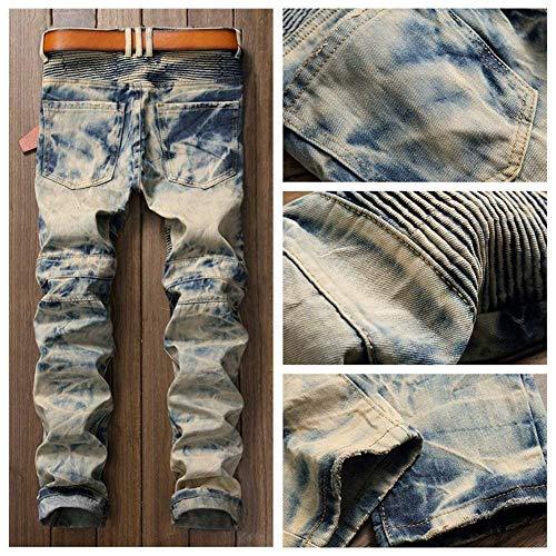 Jeans Denim Comodo Lavato Colour Gamba Vintage Moto Dritta Da Battercake Fit Rt A Uomo Slim Casual Strappato Pantaloni dSqZd