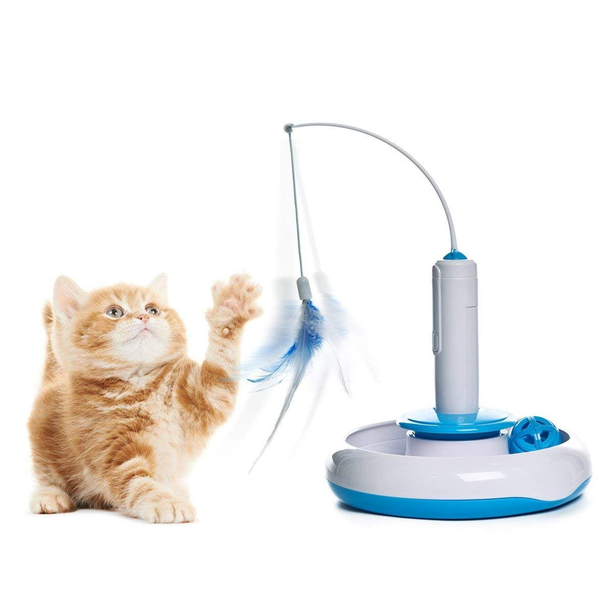 Speedy Pet Cat Feather Teaser Toys Interactive Electric Rotate Feather Toy with Moving Ball for Cats Kitten