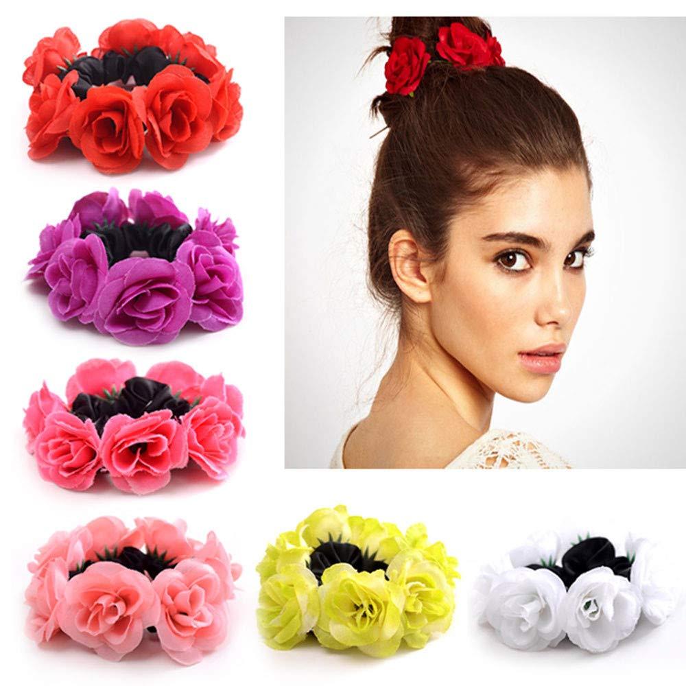 Amazon.com: Círculo de pelo para mujer, con flores, elástico ...