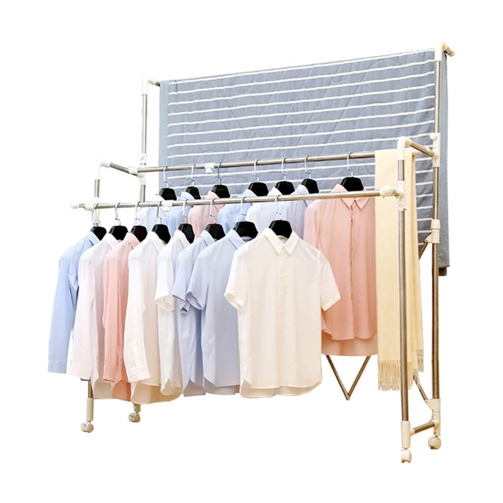 乾燥ラック 乾燥ラックステンレススチールダブルロッドフロア折り畳み式伸縮式バルコニー屋内ハンガー衣類ラックサイズ(118-180)x190x45 Cm B07JRF383P