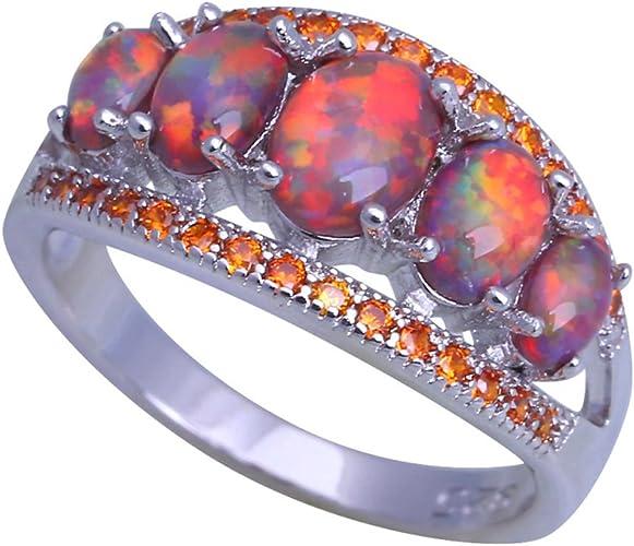 F/&F jewel Fashion Huge Orange fire Opal Rings For Women Wedding Ring Engagement Bridal Rings