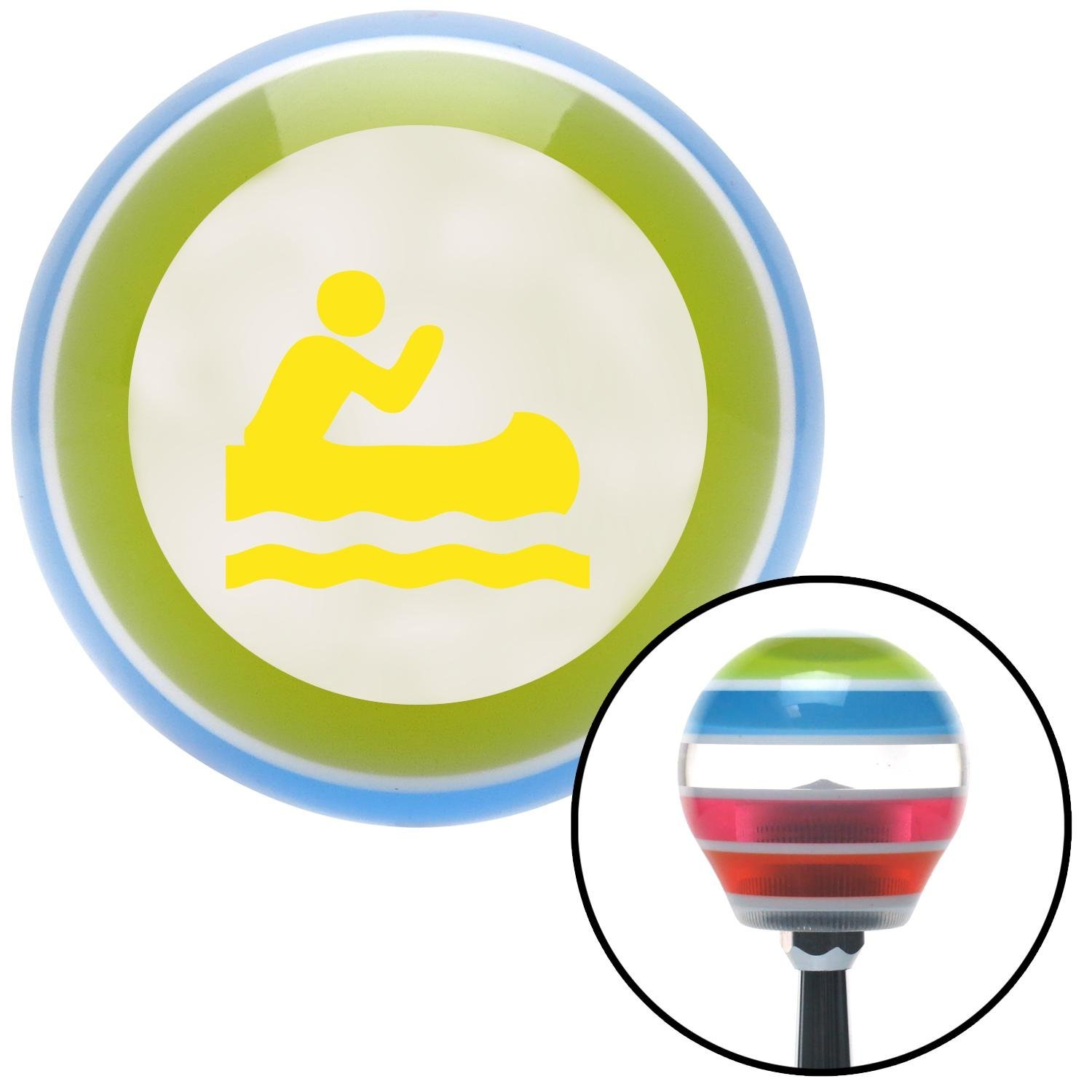 Yellow Man in a Canoe American Shifter 137151 Stripe Shift Knob with M16 x 1.5 Insert