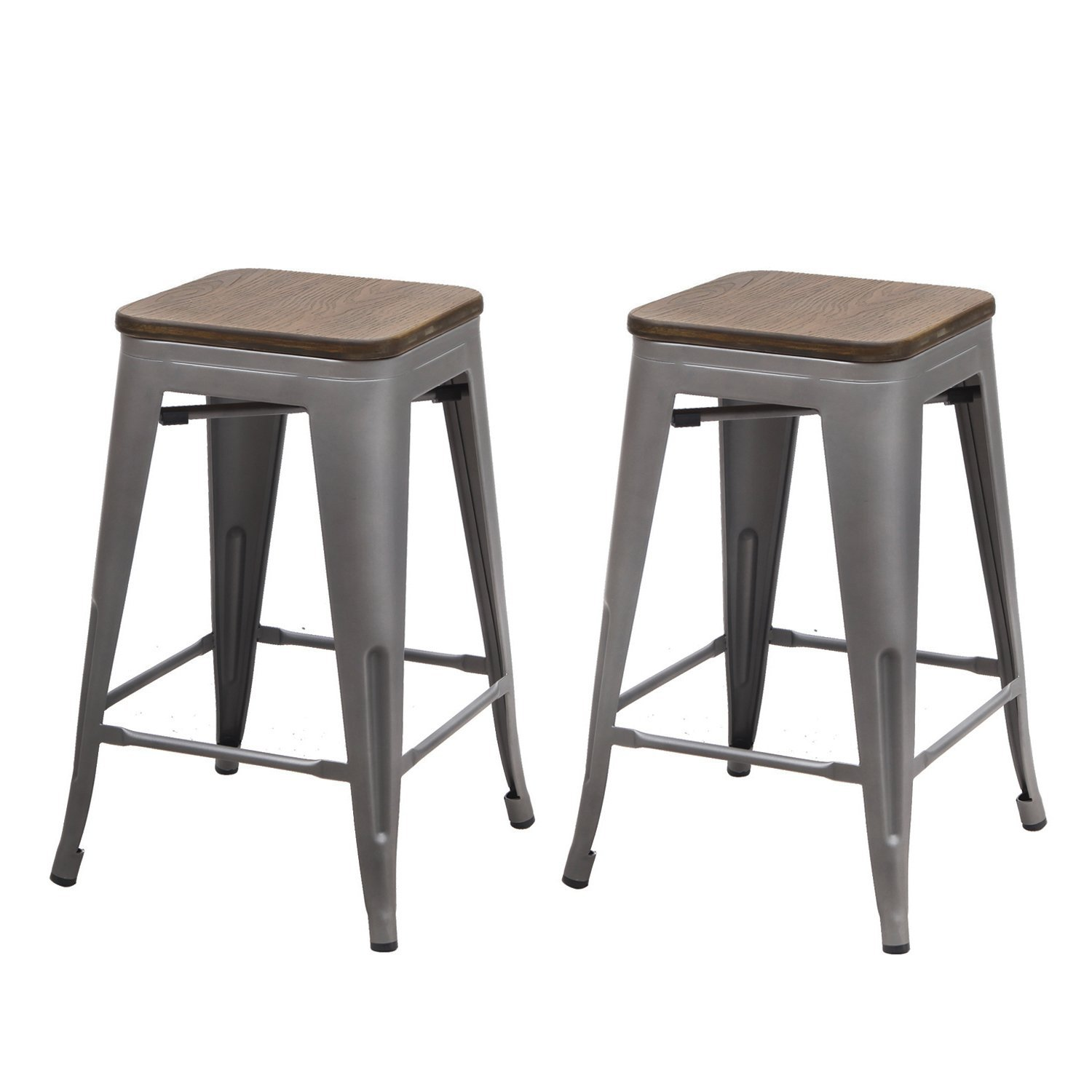 Adeco 24 Inch Metal Counter Stools Vintage Bamboo Seat
