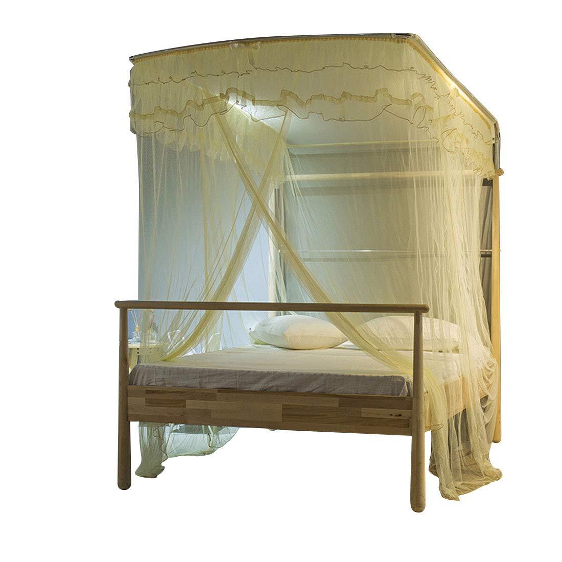 方朝日スポーツ用品店 蚊帳のはめ込み式のU字型の蚊帳、寝室に適した3つの開いたドアの裁判所の黄色い床から天井までの蚊帳 (色 : ベージュ, サイズ : 150*210CM/25) B07SLJMTGK ベージュ 150*210CM/25