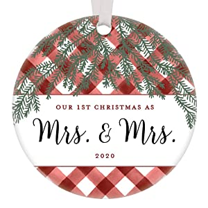 "Our 1st Christmas Mrs & Mrs Ornament 2020 Lesbian Couple Together Keepsake First Holiday Married Newlyweds Same Sex Life Partners Gifts Red Buffalo Plaid Gingham Farmhouse Decor 3"" Flat Circle Ceramic"