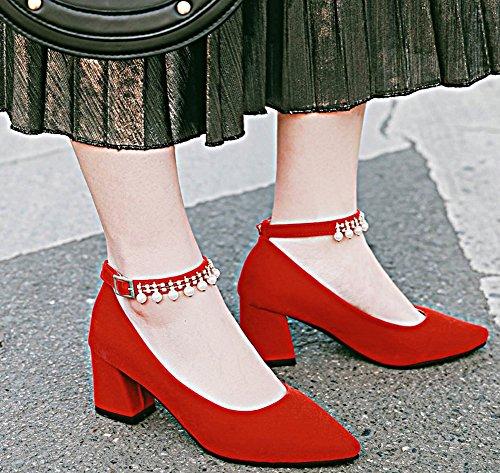 Idifu Womens Sweet Pearls Toe Toe Chunky Scarpe Col Tacco Medio Con Cinturino Alla Caviglia Con Fibbia Rossa