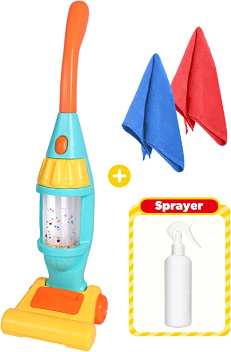 Kids Vacuum Cleaner Toy Set, Toy Vacuum Cleaner With Light Realistic Sounds & Whirling Stars, Pretend Role Play Household House Keeping Cleaning Play Set Learning Toys For Kids Toddlers Girls Boys Toy
