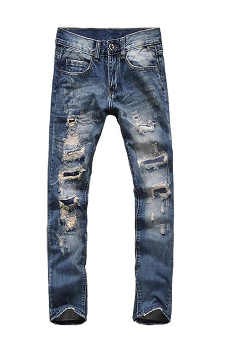 MyncooMen Blue Slim Ripped Jeans for men Denim,Blue,28W x 32L