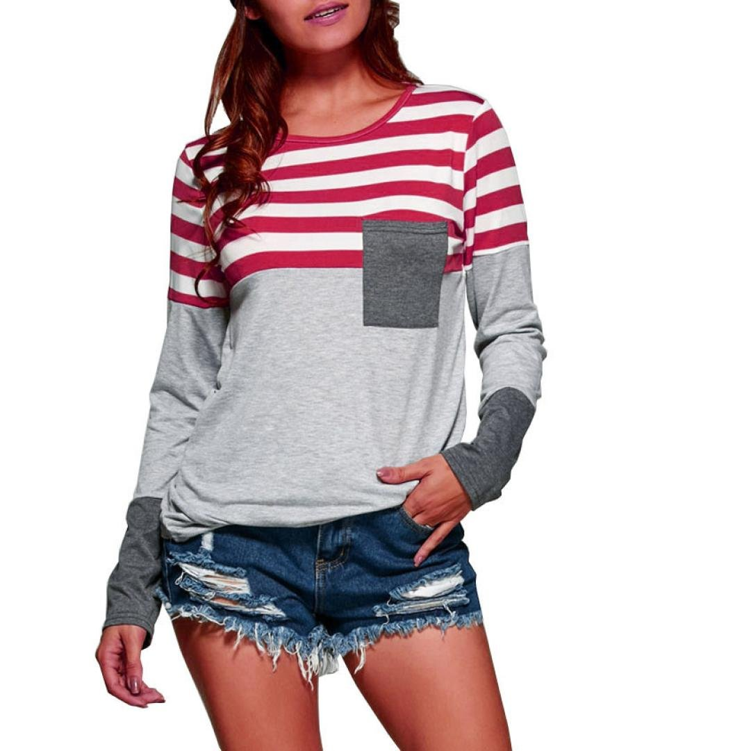 d51b5e7dd92 BSGSH Womens Casual Striped Color Block Long Sleeve Pocket T Shirt Blouse  Tunic Tops at Amazon Women s Clothing store