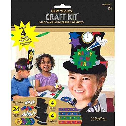 Hat Happy Year New Top (Amscan Sparkling New Year Top Hat Craft Kit Party Activity, Paper, Pack of 32)