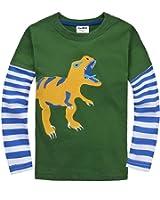 Coralup Little Boys Top Applique Dinosaur T-Shirt (Green,18M-6 Years)