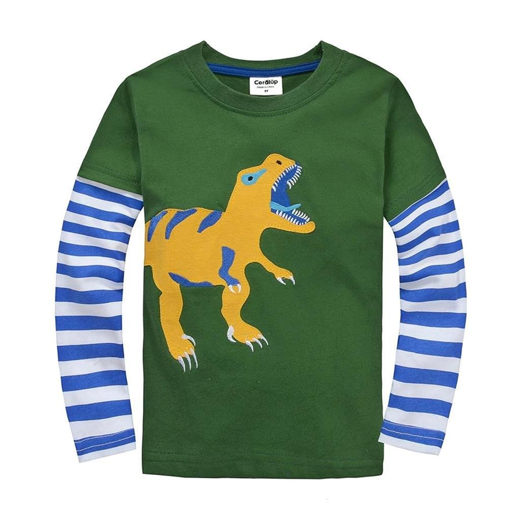 Coralup Little Boys Applique Dinosaur T-Shirt(Green,4-5 Years)