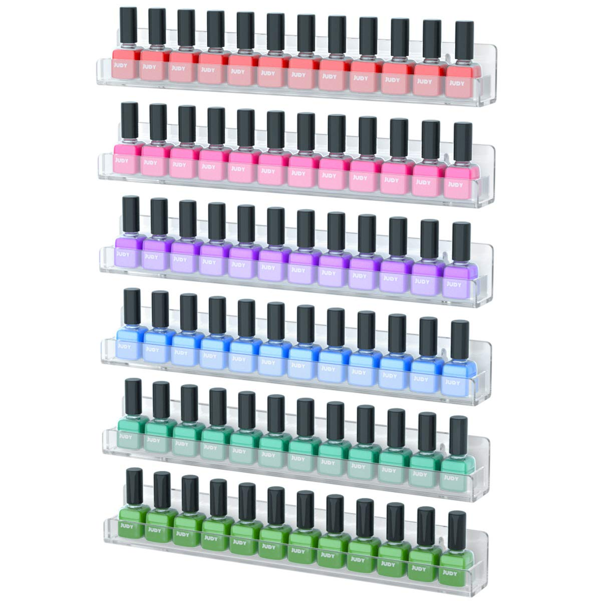 NIUBEE 6 Pack Nail Polish Rack Wall Mounted Shelf with Removable Anti-slip End Inserts, Clear Acrylic Nail Polish Organizer Display 90 Bottles