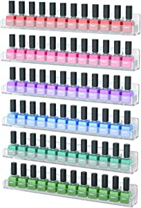 NIUBEE 6 Pack Nail Polish Rack Wall Mount, Clear Floating Acrylic Nail Polish Organizer Shelf for Display Essential Oils (6 Pack)