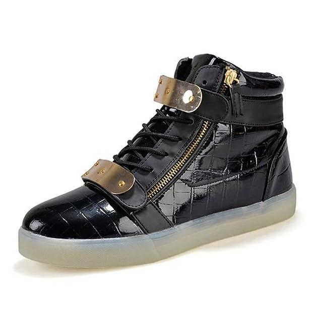 (Present:kleines Handtuch)Schwarz 38 EU USB High-Top Sportsschuhe Weiß Sneaker Herren Glow athletischen Light Gebühre l7OiKb