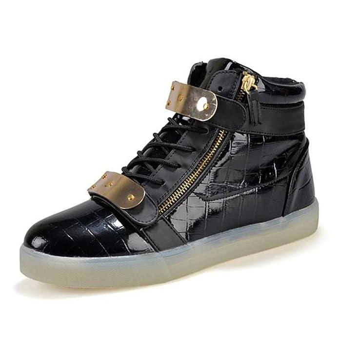 [Present:kleines Handtuch]Schwarz 41 EU Weiß Gebühre Damen USB Glow athletischen High-Top Light LED Sneaker Sportsschu rNzrnhqtr