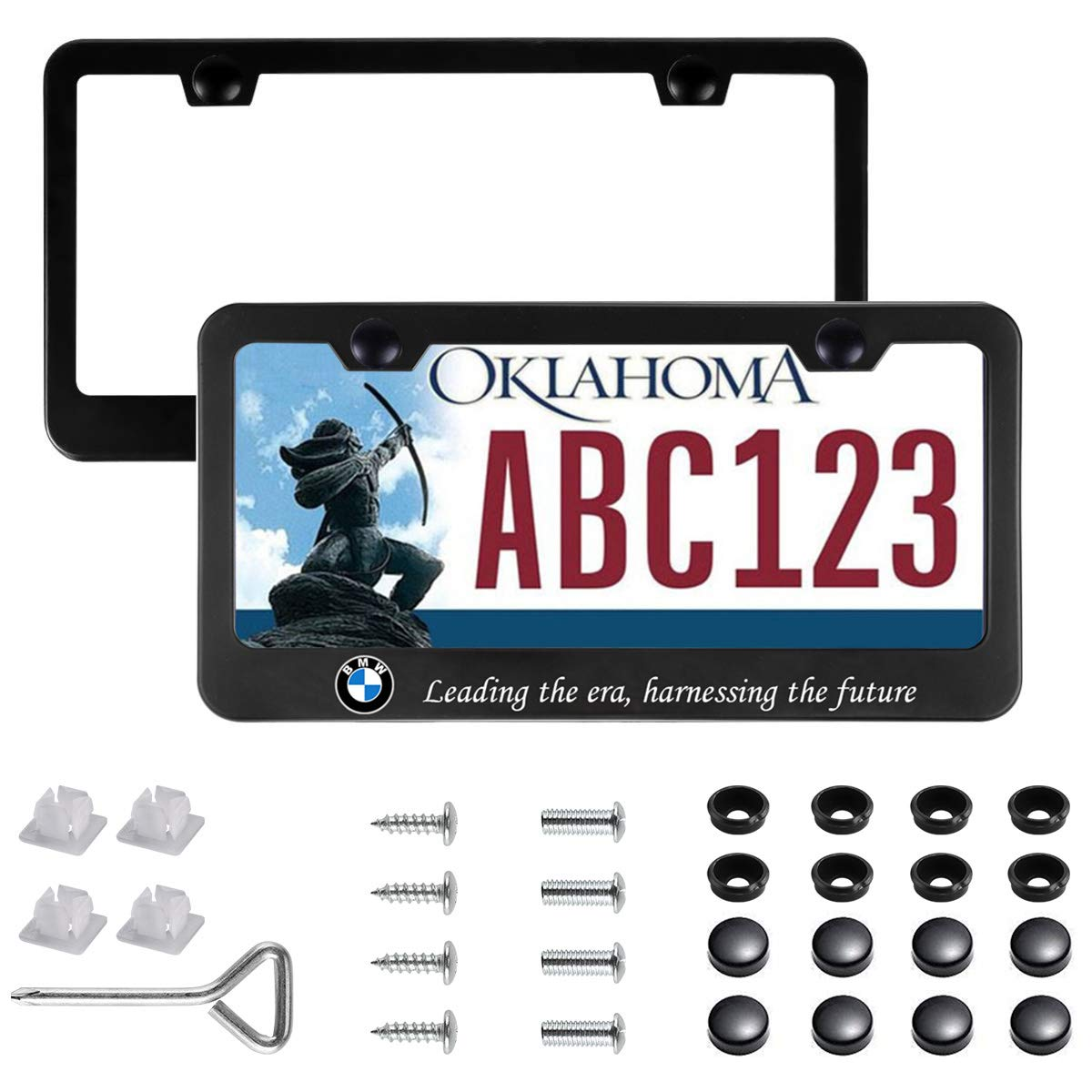 for BMW.(Black) for BMW./(Black/) Sparkle-um 2Pcs Newest Matte Aluminum Alloy BMW Logo License Plate Frame,with Screw Caps Cover Set,Applicable to US Standard car License Frame