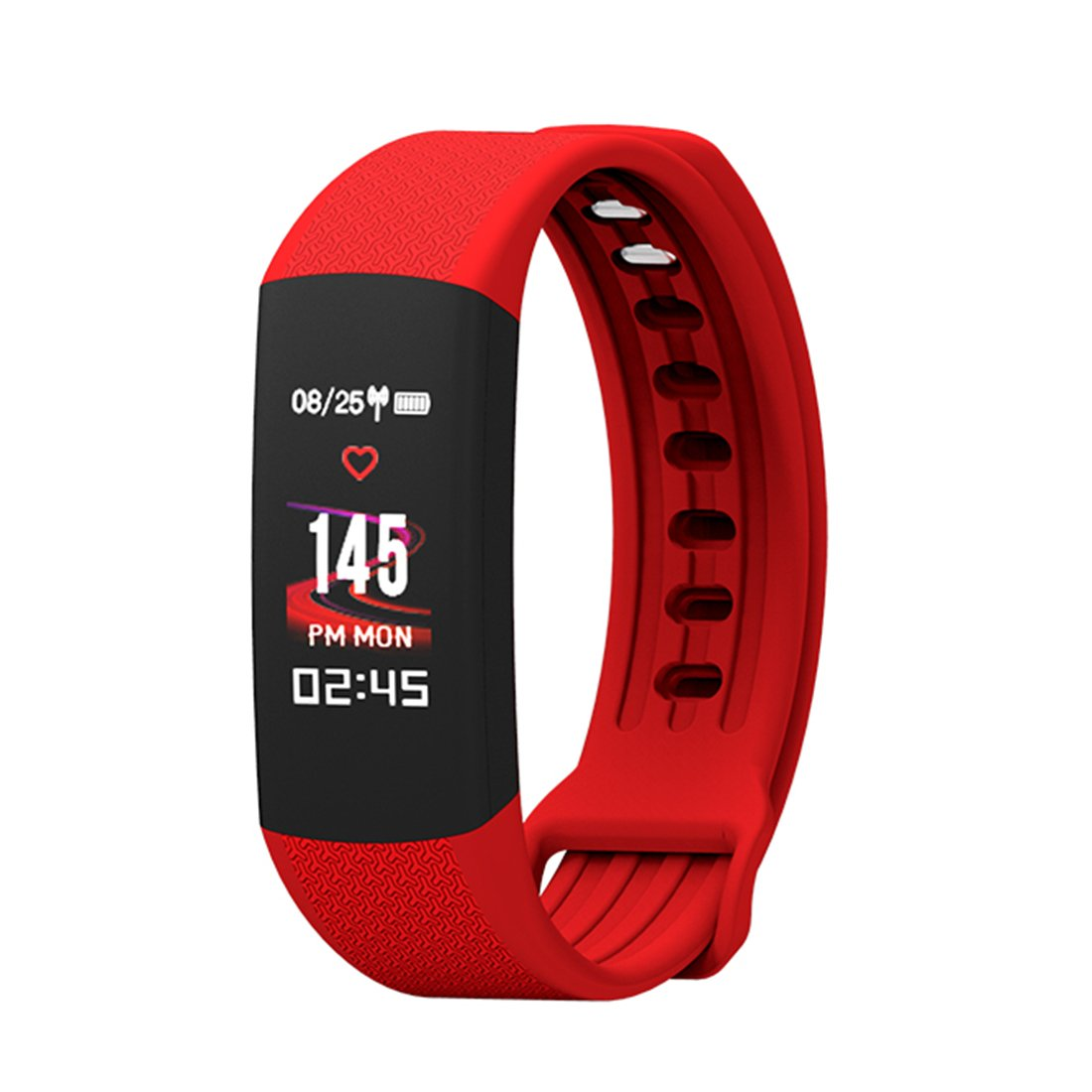 HDWY Smart Bracelet With Color Screen Step Counter Calorie Sleep Monitor Distance Sport Watch Walking Running App For Woman And Man (Quantity: 2) (Color : Red)