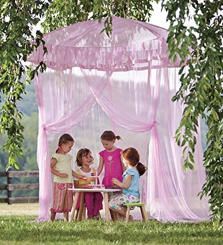 HearthSong® Sparkling Lights Hanging Bed Canopy Play Tent with Interior LED Light String – Kid's Bedroom Decor - Fits Twin to Queen Sized Beds - 58 x 50 - Pink (Bedroom Bed Disney)