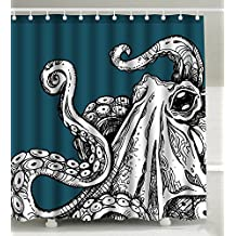 Wknoon 72 x 72 Inch Shower Curtain Set, Vintage Sea Monster Cool Octopus Tentacles Abstract Sketch Art Black White Blue
