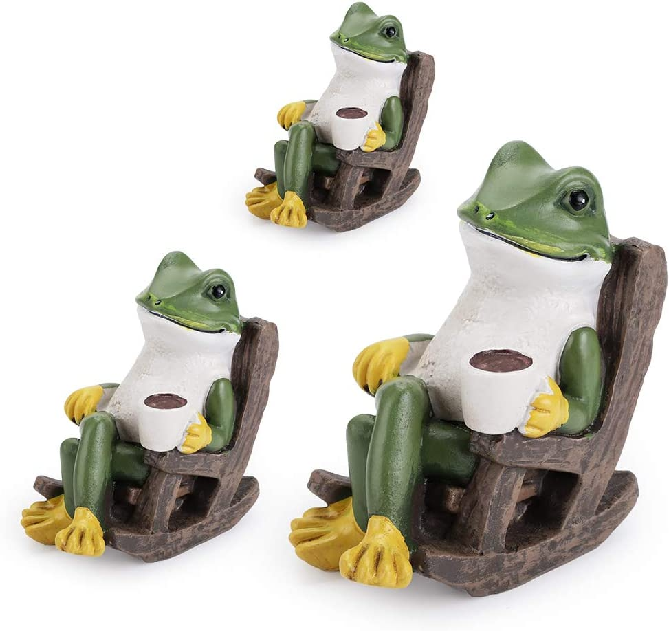 JuxYes Pack of 3 Different Sizes Miniature Frog Garden Statue, Coffee On Chair Creative Craft Resin Funny Frog Sculpture Collectible Frog Figurine Decor for Fairy Garden Home Office