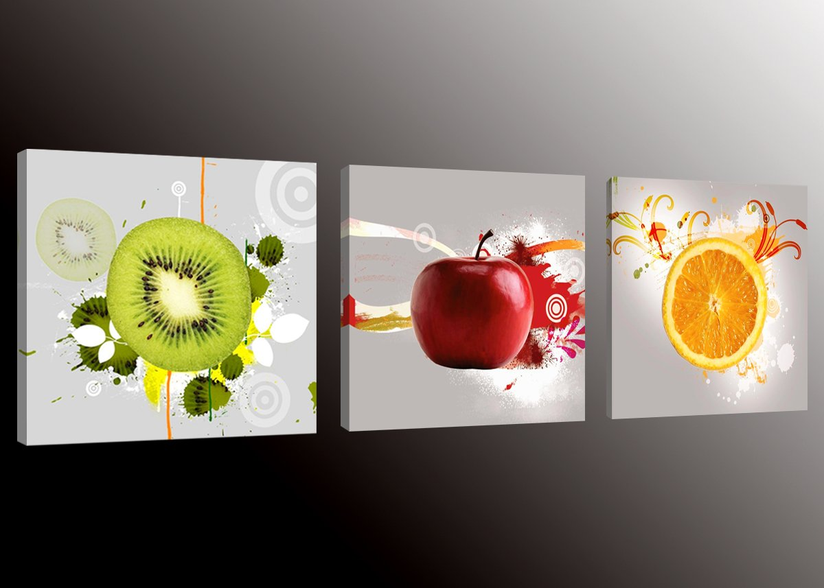 Amazon.com: Formarkor Art Kx1656 Fruit Picture Canvas Wall Art Prints For  Kitchen, Framed Food Canvas Painting For Kitchen, Red Apple, Orange, ... Part 96