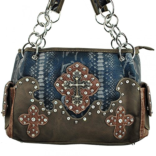 Brown Black Purse Studded Red Handbag Rhinestone Women's Style Brown 5237 Flowers Cross in and Leather Pink w4dxvP4