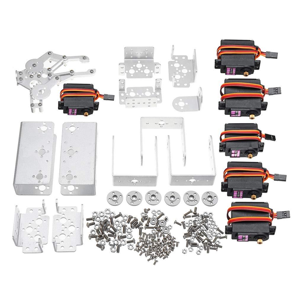 KKmoon DIY Aluminium Roboter Arm, 6 DOF Mechanische Roboter Roboter Roboter Arm Clamp Klaue Halterung DIY Kit w/Servos Servo Horn für Arduino-Silber cb2080