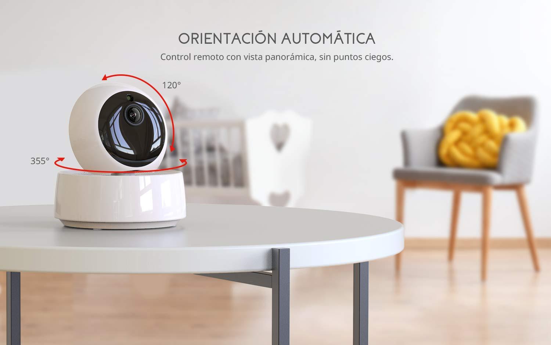 Comunicaci/ón Bidireccional Conexi/ón de 2.4 GHz Modo de Dormir COOAU Video Monitor con Pantalla LCD HD de 5 C/ámara Gira Autom/áticamente Visi/ón Nocturna Vigilabeb/és Inal/ámbrica con C/ámara