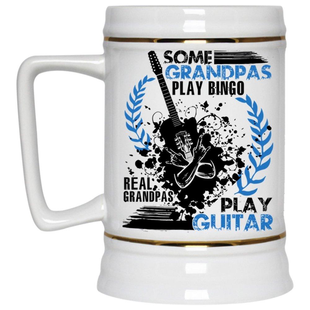 Real Grandpas Play Guitar Beer Mug, Some Grandpas Play Bingo Beer Stein 22oz (Beer Mug-White)