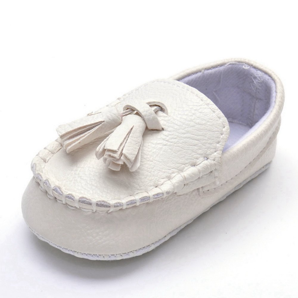 Lidiano Infant Baby PU Leather Soft Sole Moccasins Flat Loafers Sneakers 0-18 Months (0-6 Months, White Buckle) A027L4