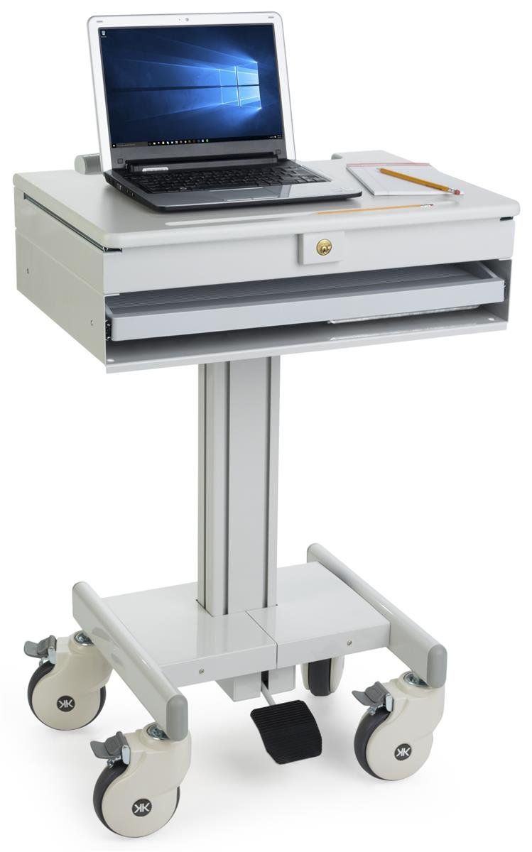 Displays2go Mobile Computer Carts, Locking Drawer, Height Adjustable, Steel, Plastic & MDF Construction – Gray (DWMDCOM)