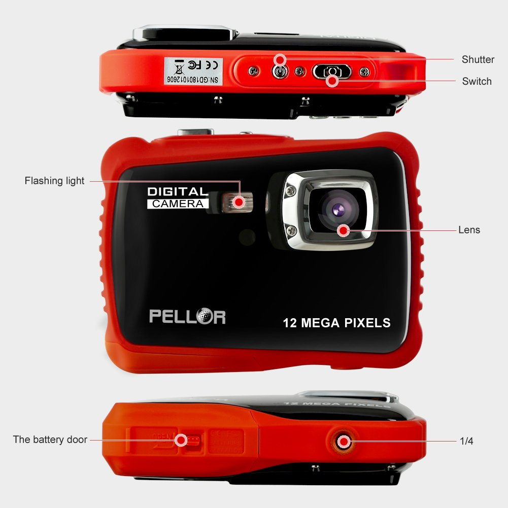 PELLOR Waterproof Sport Action Camera Kids Camera Camcorder 8M Pixels (Black, Screen: 2'') by Pellor (Image #4)