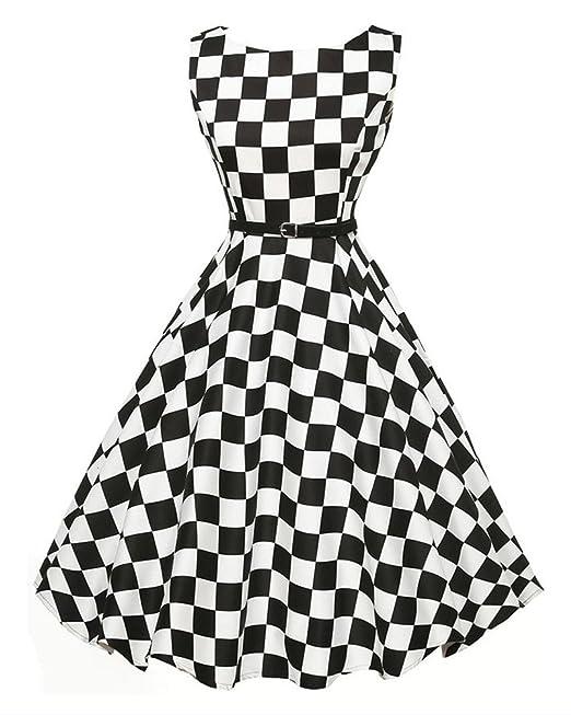 GUOCU Las mujeres Classy 1950s Rockabilly Hepburn Vintage Vestido Cintura Alta Sin Mangas Clásica en Cuello
