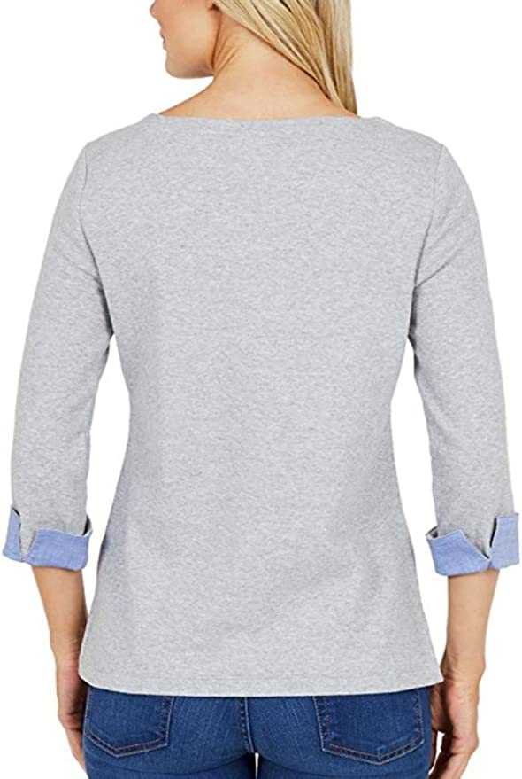 Top 3//4 Cuffed Sleeve New with tags Gray Navy Nautica Womens Chambray Shirt