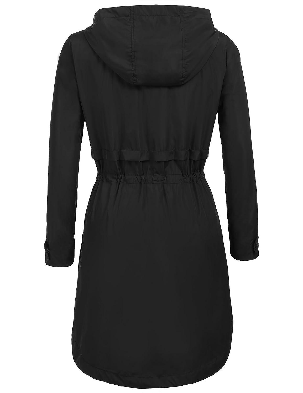 Coofandy Damen Parka Übergangsjacke Regenjacke Windbreaker Regenmantel Funktionsjacke mit Kapuze Casual Jacke Outwear