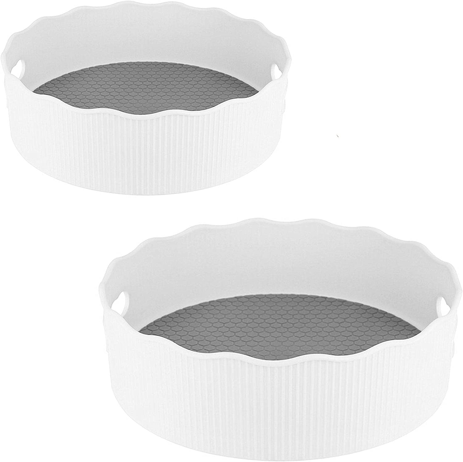 2 Pack Deep Spinning Lazy Susan Anti-slip, 1 Large & 1 Small Plastic Turntable Spice Holder Food Condiment Storage Bin with Handles for Kitchen, Bathroom, Cabinets, Fridge, Countertops (white)