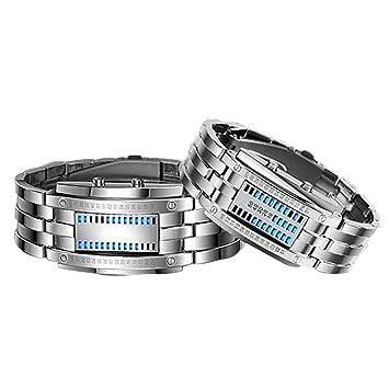 HUAIX Home Relojes de Pulsera Deportivos binarios con Matriz binaria para Mujeres y Hombres, Reloj de Banda de Acero Inoxidable Negro (Color : Silver): ...