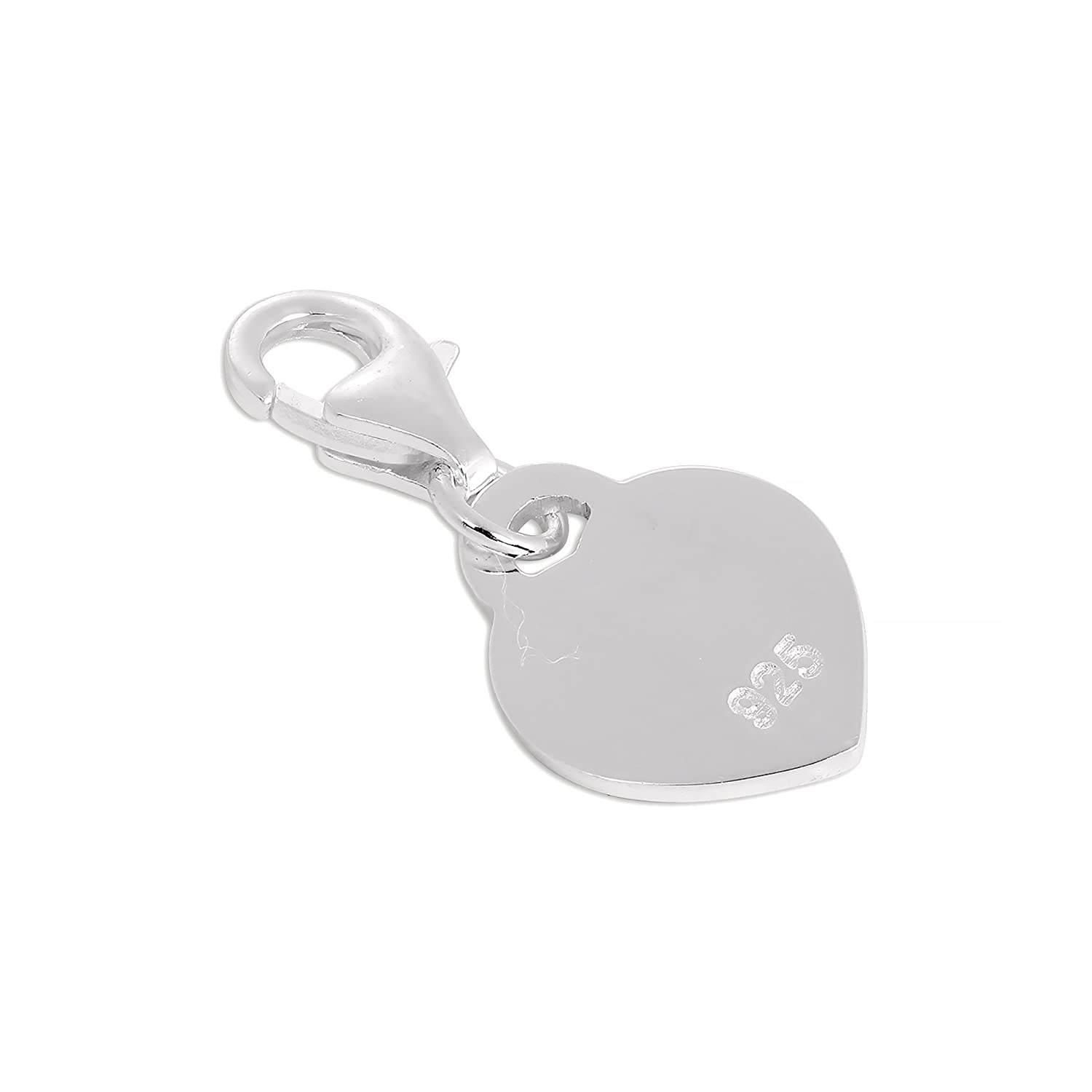 Sterling Silver Little Sister Heart Clip on Charm
