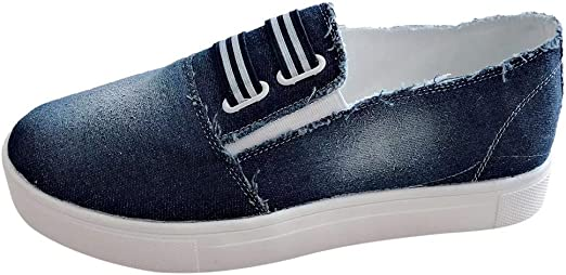 Womens Denim Canvas Loafers Pumps Large Size Sports Slip On Flat Sneakers Shoes