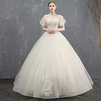WFL Vestido de Novia Novia Verano Casado Sen es Ligeramente Princesa soñadora Delgada Mujer,Beige