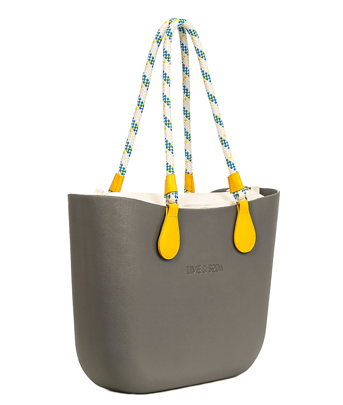 Lime & Soda Women's Fashion Eva Handbag - Rope Handles - Mix & Match to find your style (Grey Special 3)