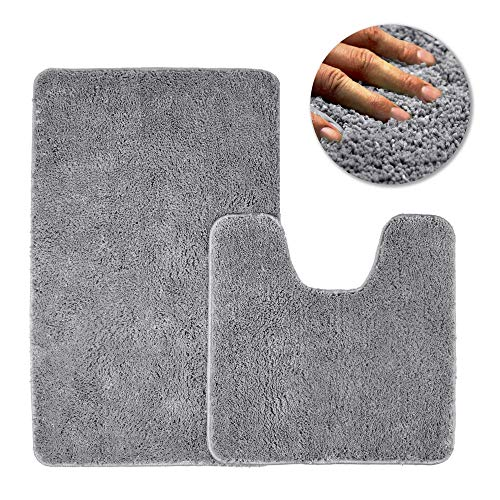 LuTree Luxury Microfiber Absorbent Carpet 32×20inch and 20×20inch, Perfect for Kitchen and Bathroom,Soft and Odorless, Machine wash and Drying,Non - Toxic Environmental Friendly,Gray.