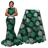 pqdaysun 5 Yards African Lace Fabrics Nigerian French Beaded Tulle Fabric (Dark Green)