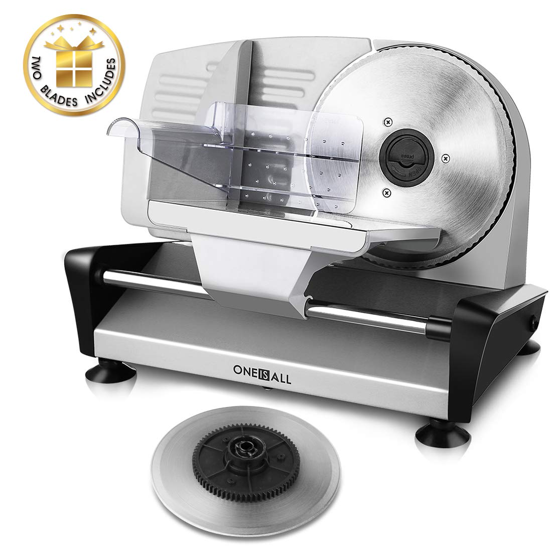 Meat Slicer Electric Deli Food Slicer with 2 Interchangeable Blades, Oneisall Removable 7.5 Stainless Steel Blade Food Carriage, Precisely Adjustable Thickness Cuts Meat, Non-Slip Feet 150W